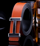 Men Women Belts Leather H Buckle Waist Belts - Toplen