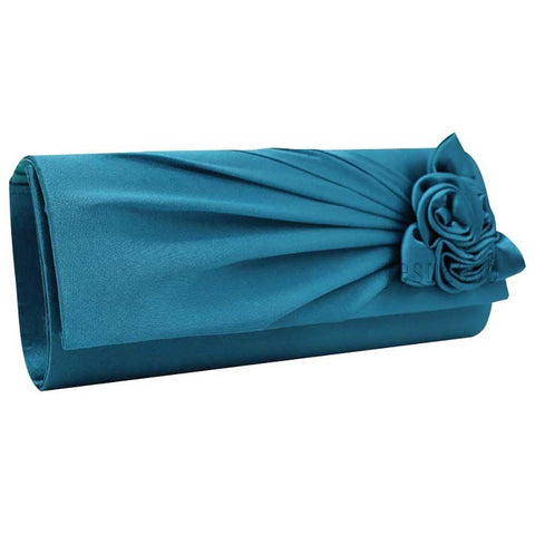 Ladies Satin Clutch Bag With Rose Wedding Party Prom Bridal Handbag - Toplen
