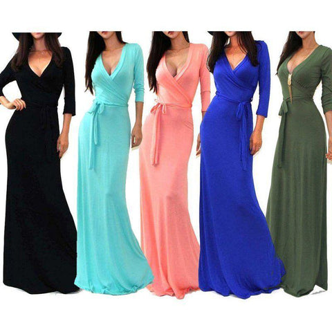 Long Sleeve Maxi Dress Evening Party Cocktail Prom Formal Long Dress - Toplen