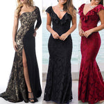 Ladies Long Split Lace Evening Party Ball Gown Prom Bridesmaid Dress - Toplen