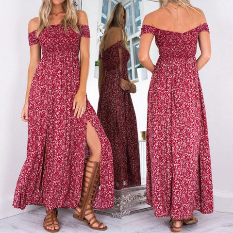 Ladies Boho Hippie Party Evening Summer Beach Long Maxi Dress - Toplen