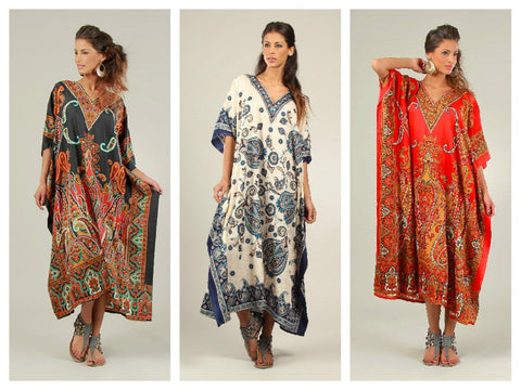 Free Size Kaftan Tunic Holiday Dress Beach Cover up - Toplen