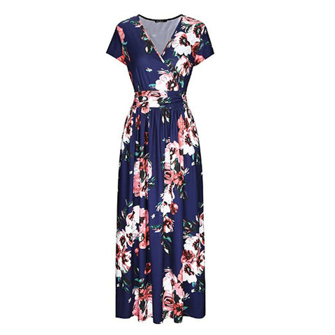 Womens V Neck Floral Printed Maxi Long Dress Short Sleeve