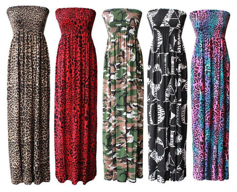 Womens Plus Size Printed Sheering Maxi Dress - Toplen