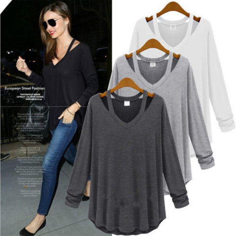Ladies V Neck Off Shoulder Long Sleeve Loose T Shirt Blouse Tops - Toplen