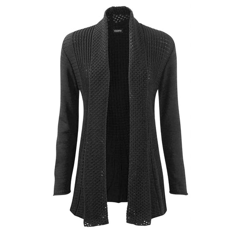 Ladies Waterfall Knitted Long Sleeve Cardigan - Wishmid