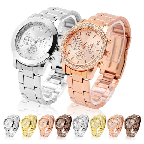 Fashion Ladies Women Crystal Diamond Dial Stainless Steel Quartz Wrist Watch - Toplen