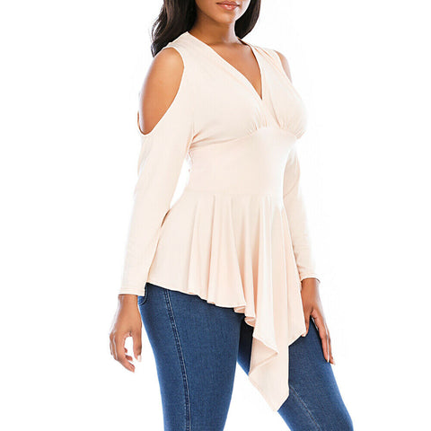 Cold Shoulder Long Sleeve Casual Ladies Tops