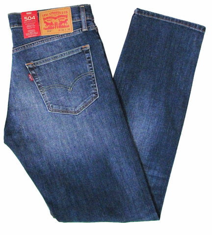 Levis 504 Mens Denim Indigo Blue Regular Straight Fit Jeans - Toplen