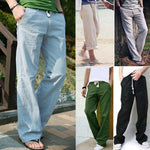 Mens Comfort Linen Pants Trousers Loose Summer Beach Casual - Toplen