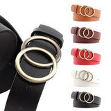 Soft Faux Leather Double Ring Buckle Belts