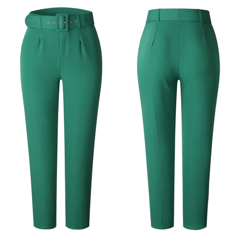 Women High Waist Pants with Waist Belt