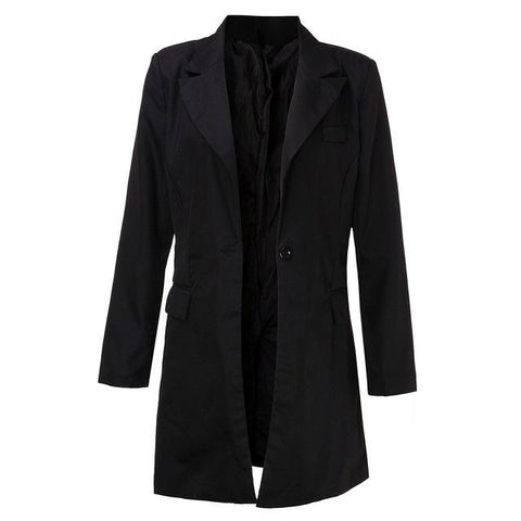 Women Black Breasted Slim Long Jacket Coat - Toplen