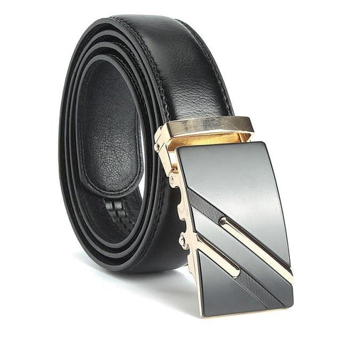 Mens Gold Silver Alloy Adjustable Automatic Buckle Belt - Toplen