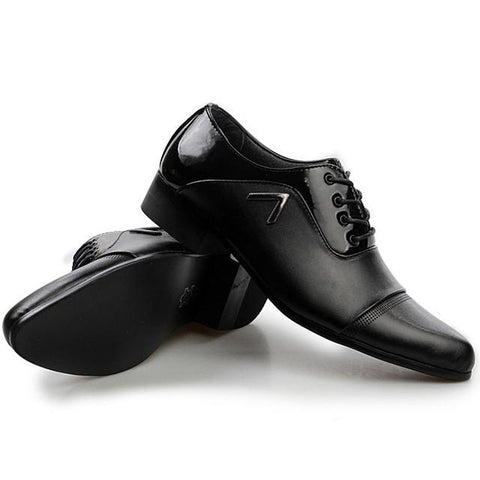 Men Casual Office Business Autumn Pattern Leather Shoes - Toplen