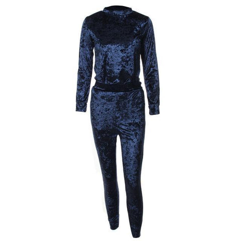 Velvet Tracksuit Two Piece Set Women Sexy Long Sleeve Top And Pants Bodysuit - Toplen