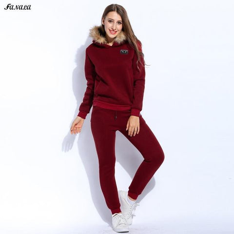 Women Thicken Sweatshirt Hoodies Tracksuits - Toplen