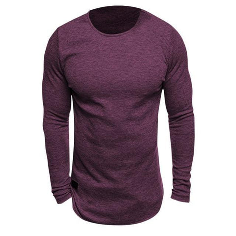 Men Long Sleeved Knitted Crew Neck T-shirt - Toplen