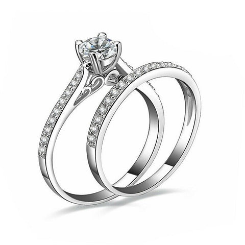 925 Sterling Silver plated Diamond Couple Rings