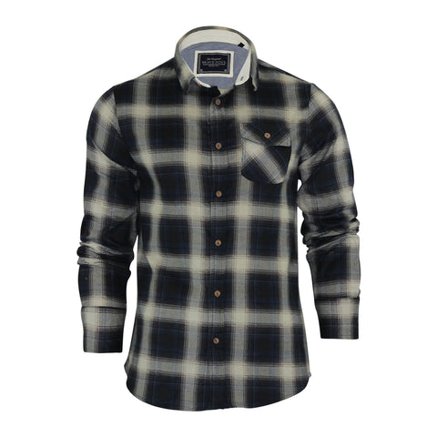 Mens Check Shirt Brave Soul Flannel Brushed Cotton Long Sleeve - Toplen
