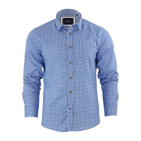 Mens Check Shirt Brave Soul Cotton Long Sleeve - Toplen