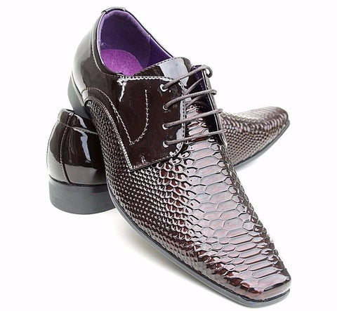 Men's Smart Formal Patent Laces Fastening Shoes SIZE 6 11 - Toplen