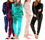 Ladies Crushed Velvet Sweatshirt Pant Tracksuit - Toplen