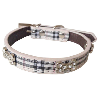 Plaid Dog Collar by Parisian Pet - Khaki