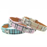 Plaid Dog Collar by Parisian Pet - Blue