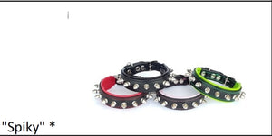 "Leather Puppy Collar- ""Spiky"""