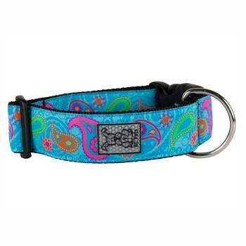 Tropical Paisley Wide Clip Adjustable Dog Collar