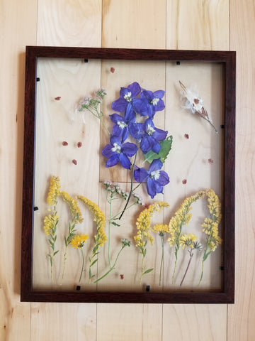 Pressed Wildflower Art - Delphinium and Goldenrods - LGNC Art Show