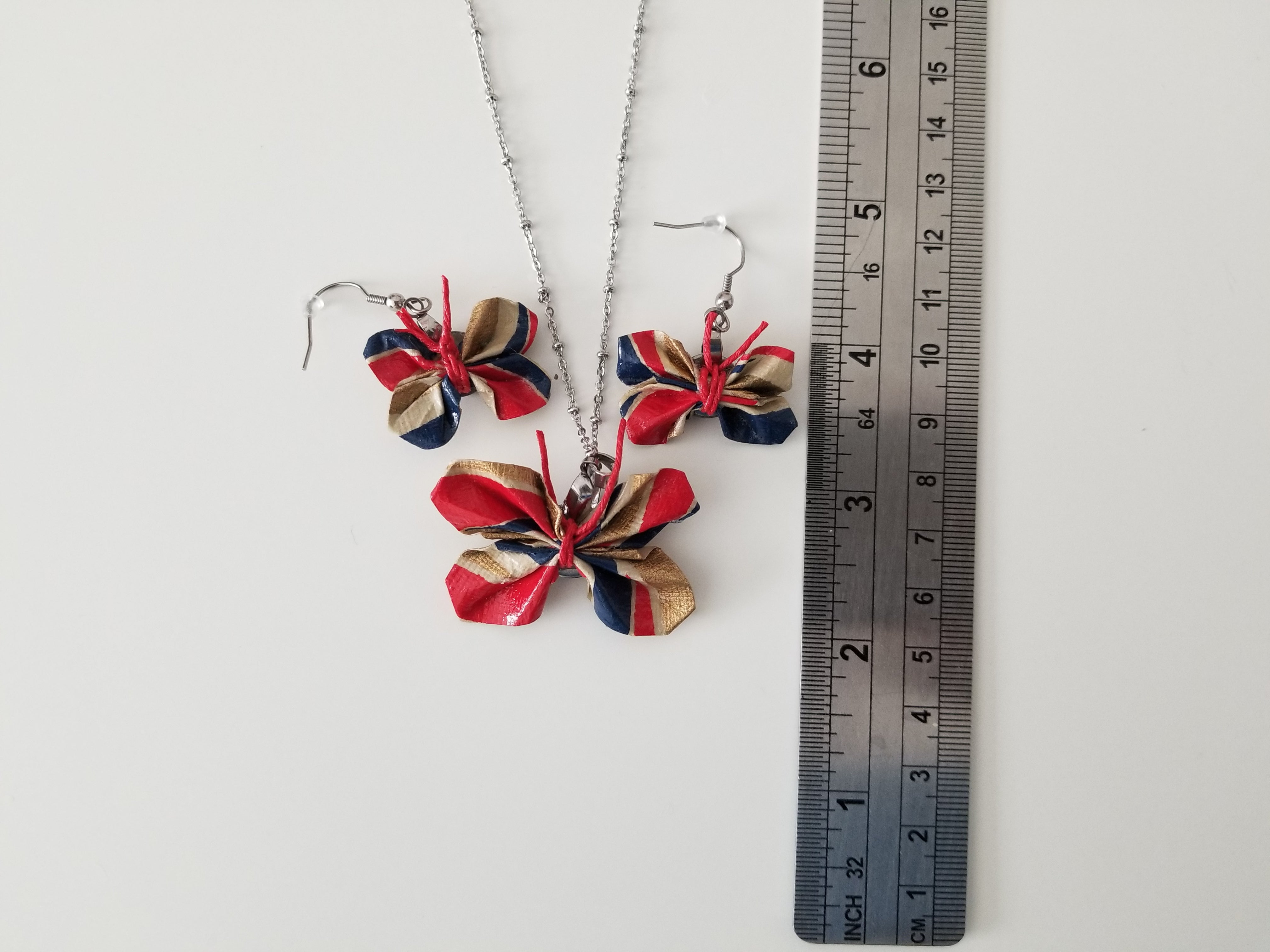 Origami keepsake gifts. Red and blue butterfly pendant and earrings set