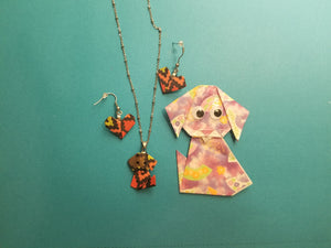 Dog Lover gift - Origami Puppy pendant and earrings set. Hypo allergenic. Stainless steel.