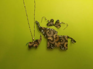 Origami Elephant Pendant with beaded necklace and Origami heart earrings