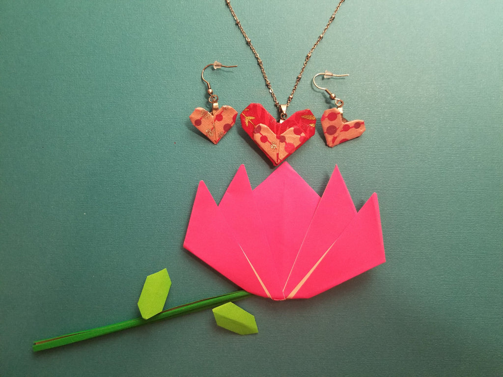 Origami ayered heart Pendant with beaded necklace and Origami heart earrings