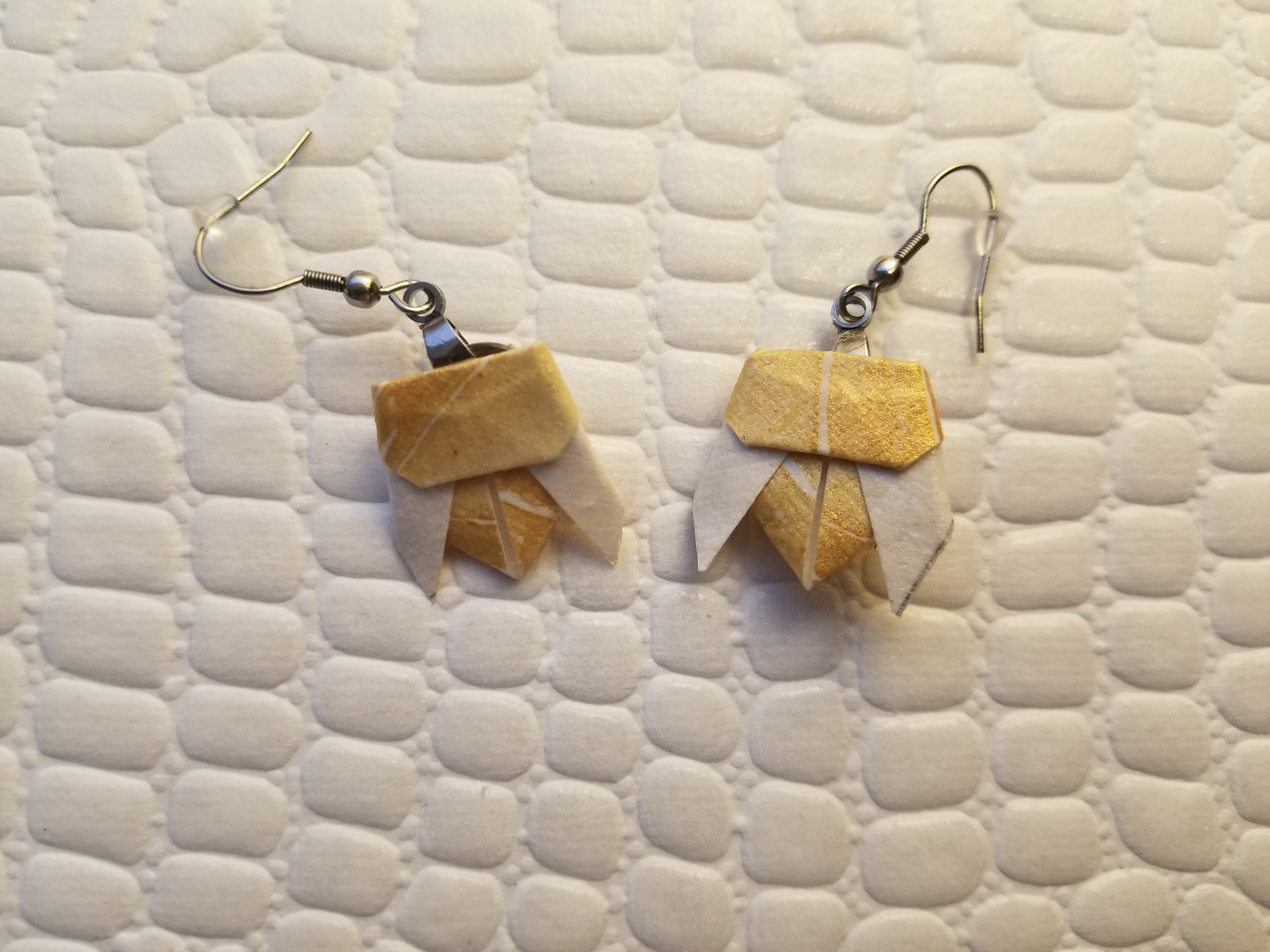 Origami bee earrings. A unique gift for a bee lover