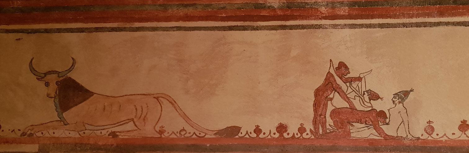 Fresco on the left. Reproduction from Etruscopolis in Tarquinia, Italy.