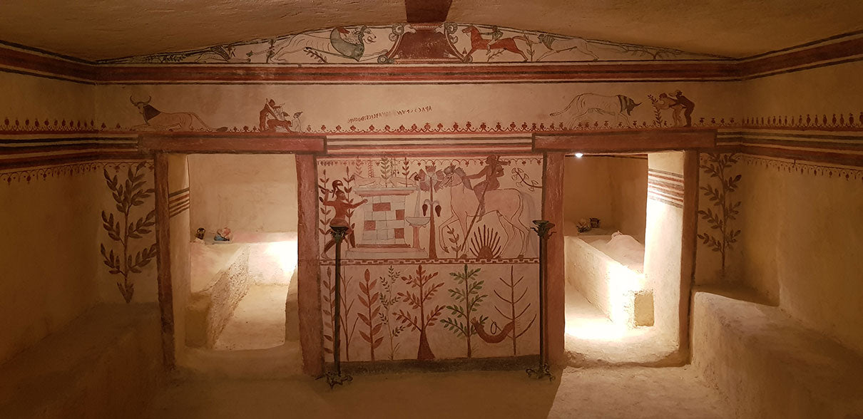 Reproduction of the Tomb of the Bulls from Etruscopolis in Tarquinia, Italy.