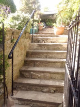 Bespoke wrought iron style garden handrail with posts free standing - www.sheffarc.com