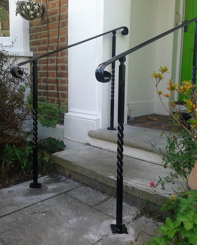 Adjustable angle wrought Iron mobility handrail With posts for outside - www.sheffarc.com