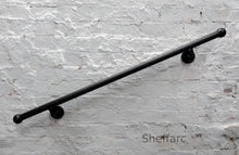 Round Steel Handrail, Stair mobility grab bar with wrought iron ball ends - www.sheffarc.com