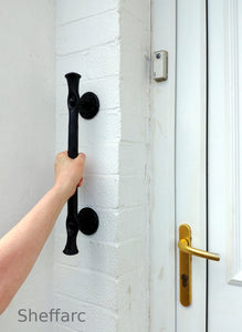 Rustic ornamental wrought iron grab handle - rail - bar - style 4 - www.sheffarc.com