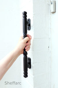 Easy reach offset ornamental mobility aid grab handle - rail - bar - style 5 - www.sheffarc.com