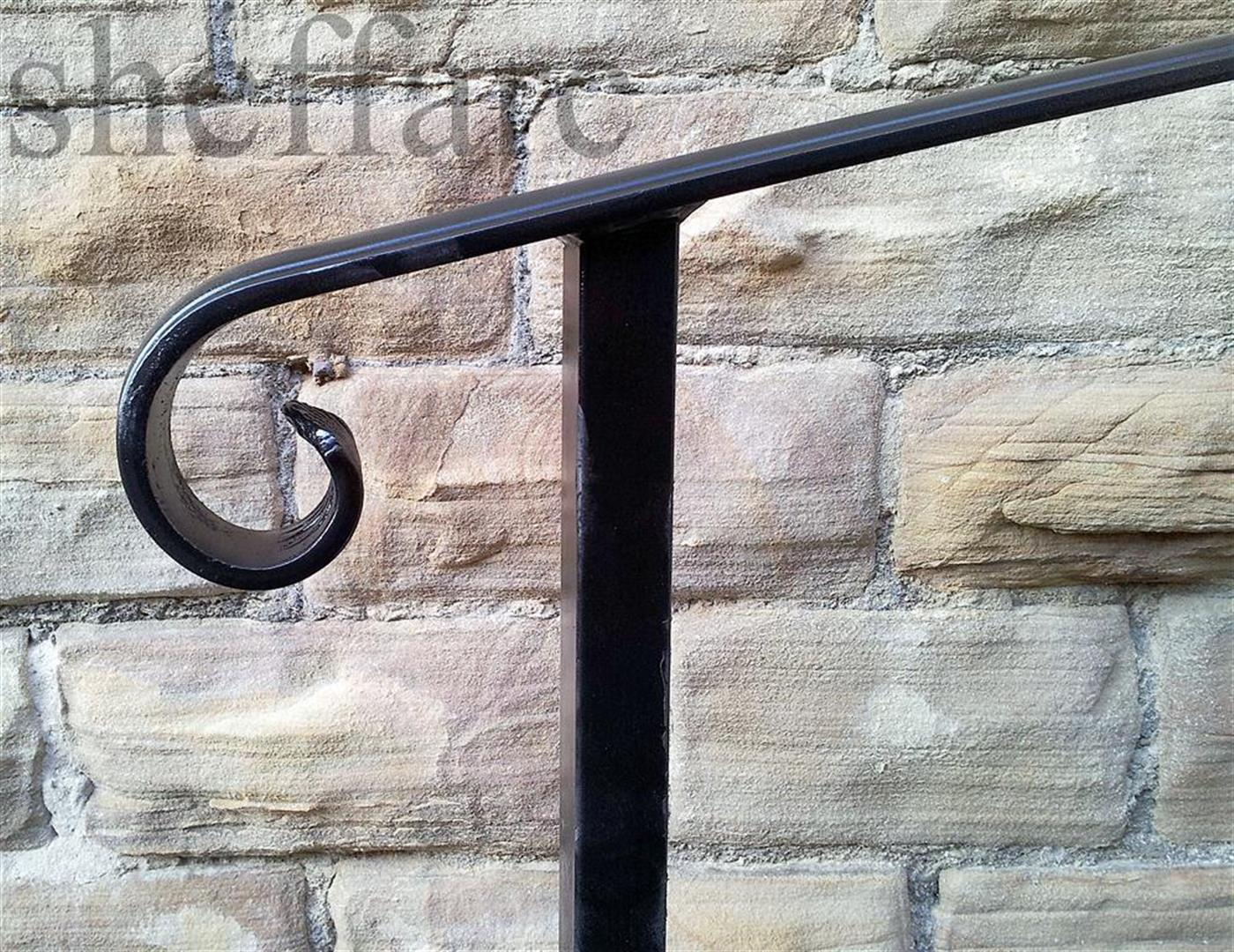 Set Size Wrought Iron Handrail With Posts For Cementing Into Ground Sheffield Architectural Metalworkers