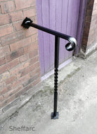 Set sized wrought iron style handrail with newel post for outside steps - www.sheffarc.com