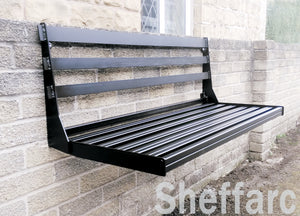 Wall Mounted seating,  Foldaway / Fold up Metal Garden Seat / Bench / Chair, space saving - www.sheffarc.com