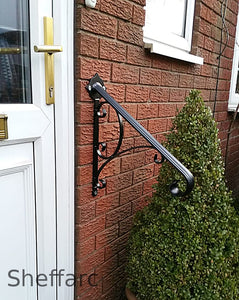 1 or 2 Step Ornamental wall mounted handrail with scrolls - mobility aid