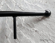 Round Steel Handrail, Stair mobility grab bar with wrought iron ball or flat end