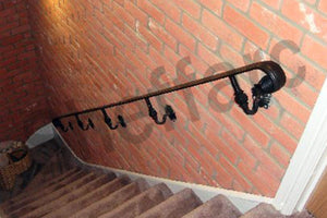 Wrought iron style handrail with scroll ends, ornamental brackets for interior or exterior use - www.sheffarc.com